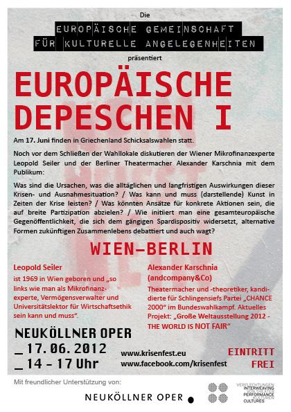 Flyer Europäische Depeschen I Wien-Berlin