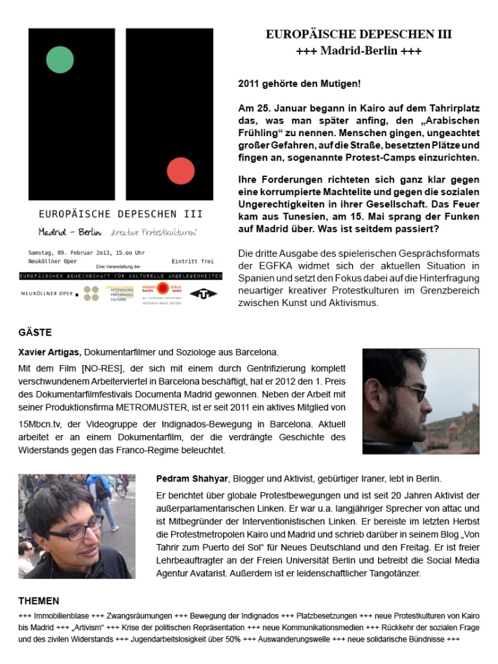 EDIII Madrid-Berlin Dokumentarfilm trifft auf Aktivismus